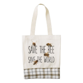 Save the Bee! Save the World! Live Design Zazzle HEART Tote Bag