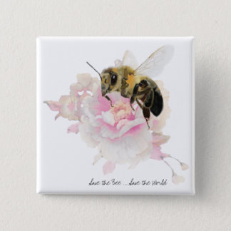 Save the Bee! Save the World! Pretty Bee Pinback Button