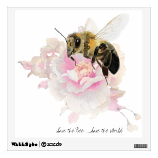 Save the Bee! Save the World! Pretty Bee Wall Sticker