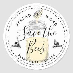 Save the bees add your own quote classic round sticker