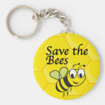 Save the Bees Basic Round Button Keychain