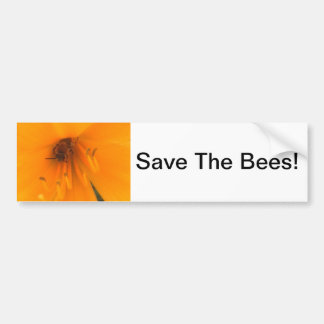 Save The Bees Bee In Yellow Lily Bumper Sticker Car Bumper Sticker