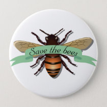 Save the Bees Conservation Environment Button