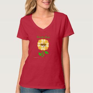 Save The Bees Flower Design (light green text) T-Shirt