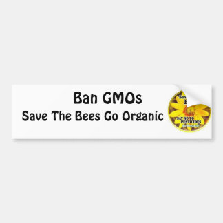 Save The Bees Go Organic Car Bumper Sticker