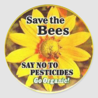 Save The Bees Go Organic Classic Round Sticker