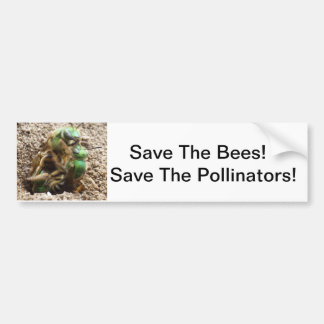 Save the Bees Green Bee Bumper Sticker