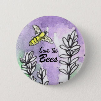 Save The Bees Lavender Flower Watercolor Button