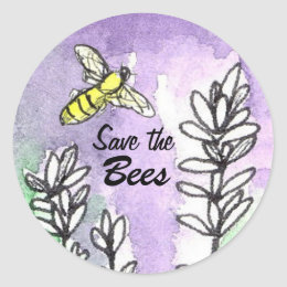 Save the Bees Lavender Flowers Watercolor Classic Round Sticker