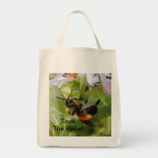 Save The Bees Macro Photo Organic Grocery Bag