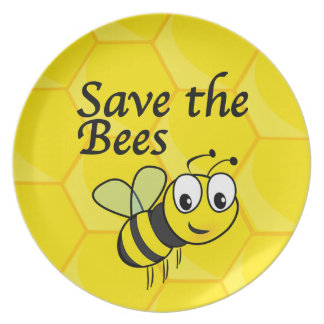 Save the Bees Melamine Plate