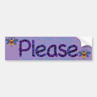 Save the Bees Please Purple Bumper Sticker