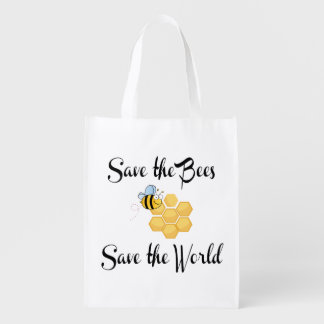 Save the Bees Save the World Grocery Bag