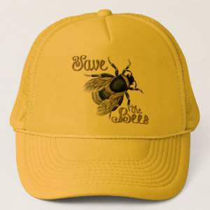 Save the Bees Vintage Fuzzy Bumble Bee Beekeeper Trucker Hat