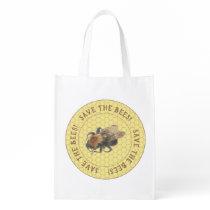 Save the Bees |  Vintage Honeybee & Honeycomb Grocery Bag