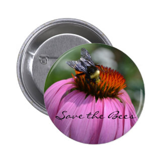 Save the Bees with Echinacea Pinback Button