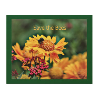 Save the Bees Wood Photo Print