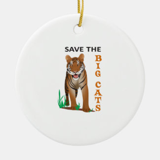 SAVE THE BIG CATS Double-Sided CERAMIC ROUND CHRISTMAS ORNAMENT