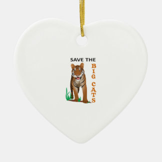 SAVE THE BIG CATS Double-Sided HEART CERAMIC CHRISTMAS ORNAMENT