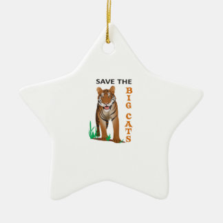 SAVE THE BIG CATS Double-Sided STAR CERAMIC CHRISTMAS ORNAMENT