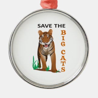 SAVE THE BIG CATS ROUND METAL CHRISTMAS ORNAMENT