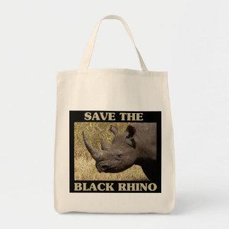 Save the Black Rhino Grocery Tote Bag