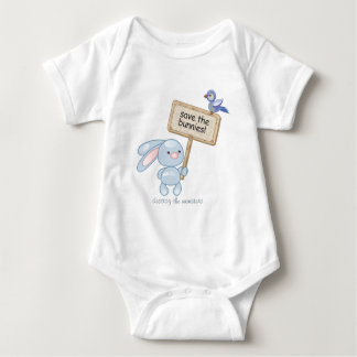 save the bunnies! destroy the monsters baby bodysuit