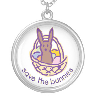 Save the Bunnies Gimme Chocolate Silver Plated Necklace