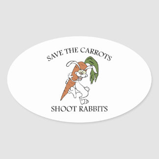 Save The Carrots Shoot Rabbits Oval Sticker