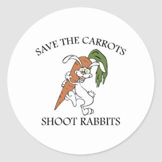 Save The Carrots Shoot Rabbits Classic Round Sticker