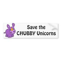 Save the Chubby Unicorns Fun Artwork Bumper Sticker