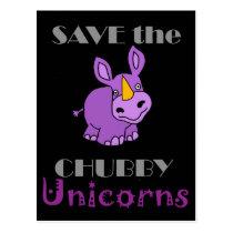 Save the Chubby Unicorns Fun Artwork Postcard