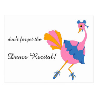 Save the Dance Recital Date with Ostrich Ballerina Postcard