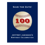 Save the Date 100th Birthday Baseball Postcard Postcard
