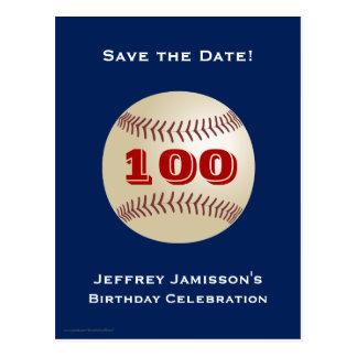 Save the Date 100th Birthday Baseball Postcard