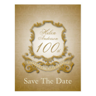 Save the Date 100th Birthday Personalized Postcard