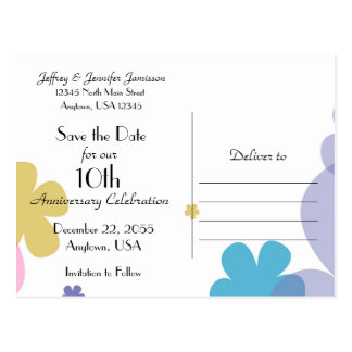 Save the Date 10th Anniversary Party Postcard