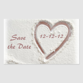 Save the Date 12-12-12 Beach Wedding Rectangular Sticker