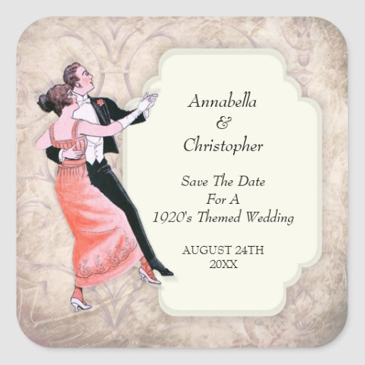 Save The Date 1920's Vintage Dancing Couple Square Sticker