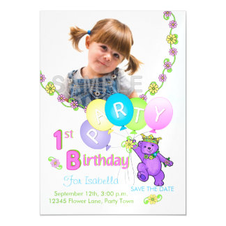 Save The Date 1st Birthday Party Purple Bear Magnetic Card