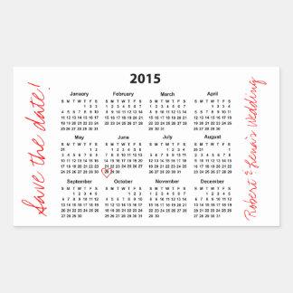 Save the Date 2015 Calendar Personalized Sticker