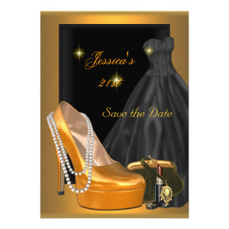 Save the Date 21st Birthday Party Gold Orange Announcements