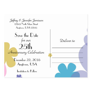Save the Date 25th Anniversary Party Postcard