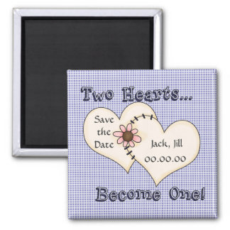 Save the Date 2 Hearts Blue Fridge Magnet