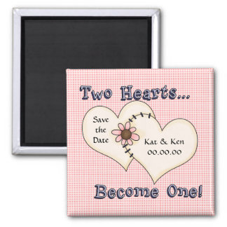 Save the Date 2 Hearts Pink Fridge Magnet