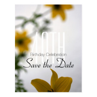 Save the Date 40th Birthday - Spring Flowers - Postcard