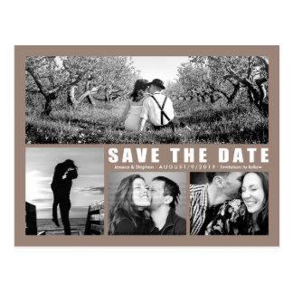 Save The Date 4 Photo Collage Beige Postcard