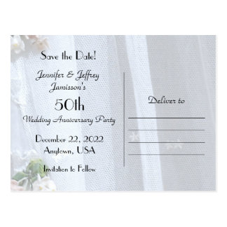 Save the Date 50th Anniversary Announcement Postcard