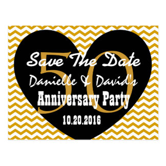 Save the Date 50th Anniversary GOLD BLACK Heart V3 Postcard