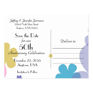 Save the Date 50th Anniversary Party Postcard
